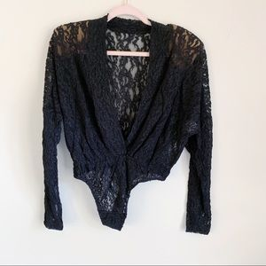 Vintage Black Lace Long Sleeve V-Neck Bodysuit S